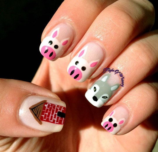Pig Nail Art: Day 24: Book (3 Little Pigs)