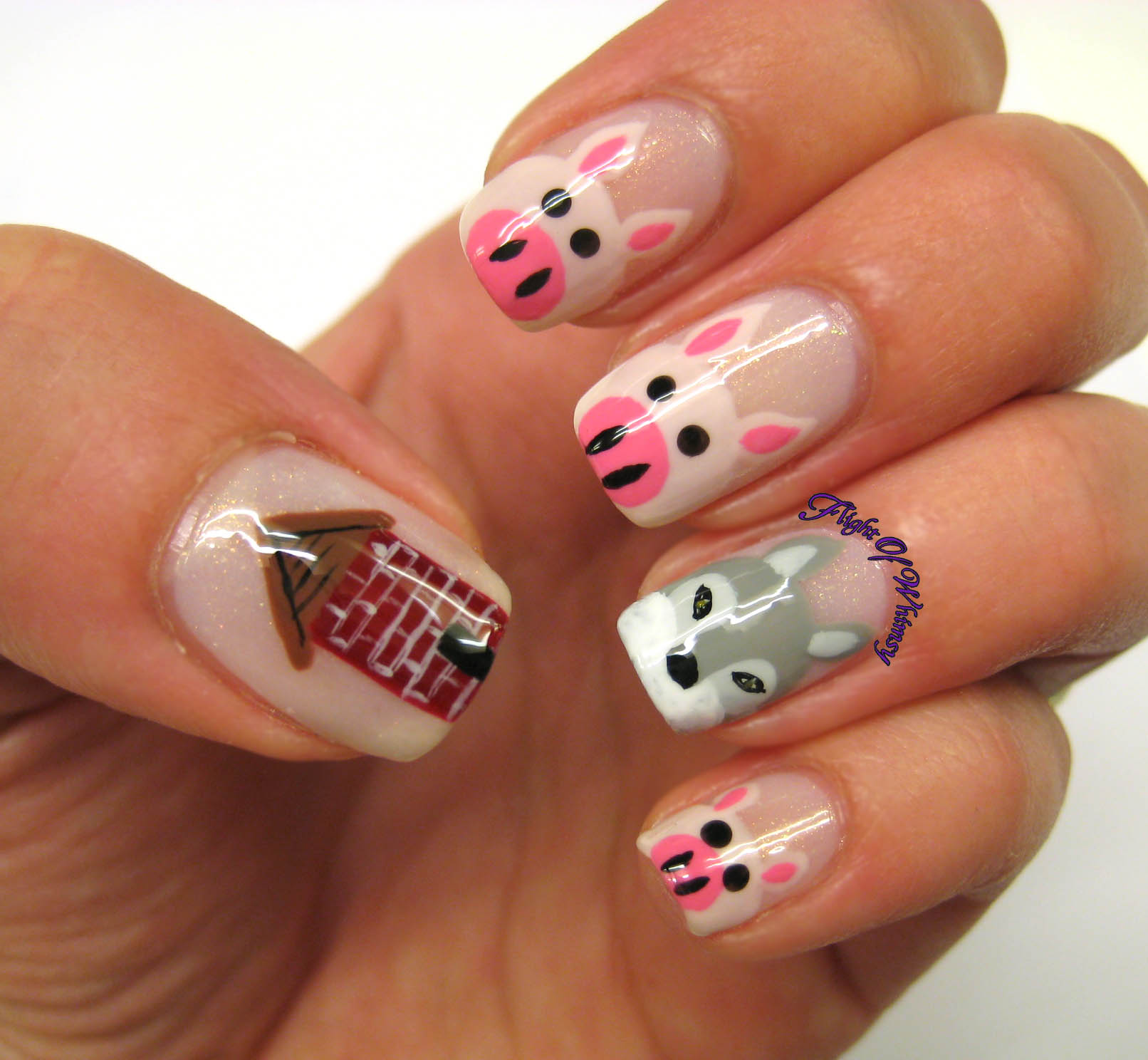 Pig Nail Art: Flight Of Whimsy