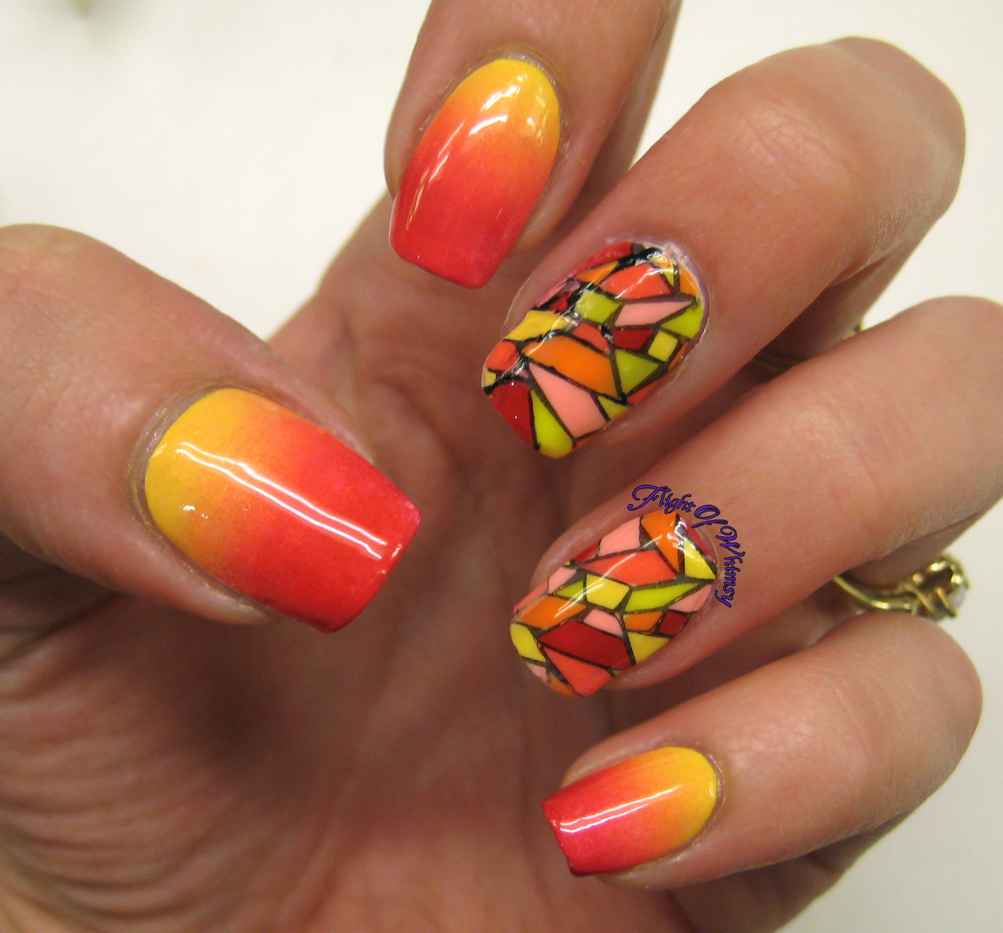 Stained Glass Nail Art: Flight Of Whimsy