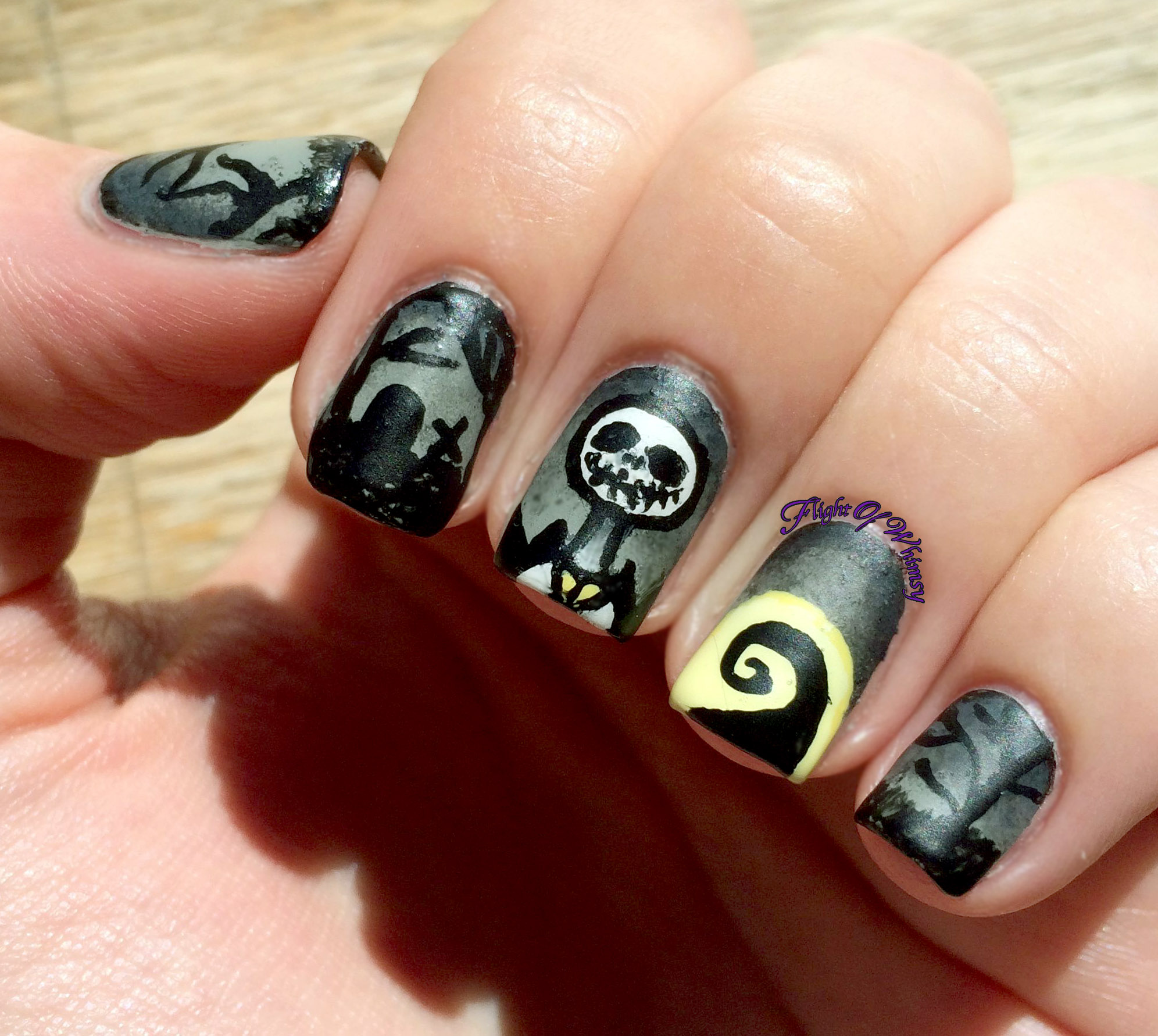 i have seen quite a few nightmare before christmas manis floating around but hers was the first to catch my eye so i went with it